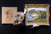 Derek Hill (1916-2000) , Portrait of Noël Coward,est £4000- 6000 (L) and Sir Noël Coward (1899-1973) , The View from Firefly, est £10000-15000. The private (R). The private collection of Sir Noël Coward, which will be offered as part of the Modern British and Irish Art sale on 19 March 2015 at South Kensington. This collection features a group of paintings by Coward himself, which include portraits and scenes of Jamaica alongside paintings he acquired as gifts from friends such as the actress Elizabeth Taylor, the actor David Niven, and the composer, actor and entertainer Ivor Novello. It comprises works by revered British artists such as Christopher Wood, John Nash, Edward Seago and Derek Hill. Estimates range from £300 up to £100,000.