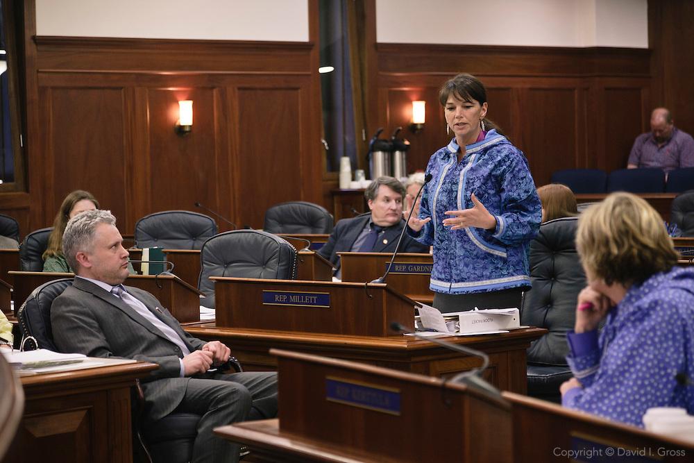 Representative Charisse Millett  (R) speaks while Kyle Johansen (R), the House Majority Leader, looks on in the House of the Alaska state legislature.