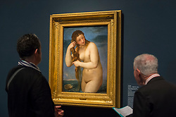 """© Licensed to London News Pictures. 28/02/2019. LONDON, UK. Visitors view """"Venus Rising from the Sea (Venus Andyomene)"""" c1520 by Titian. Preview of """"The Renaissance Nude"""", an exhibition at the Royal Academy of Arts in Piccadilly of 90 works examining the emergence of the nude in European art.  Works by artists including Leonardo da Vinci to Michelangelo are on display in the Sackler Galleries 3 March to 2 June 2019.  Photo credit: Stephen Chung/LNP"""