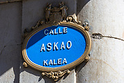 Sign for Askao Street - Calle in Spanish, Kalea in Biskaia - in Bilbao, Basque country, Spain