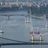 0708185397a Red Bull Air Race international air show practice runs over the river Danube, Budapest preceding the anniversary of Hungarian state foundation. Hungary. Saturday, 18. August 2007. ATTILA VOLGYI