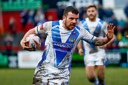 Workington Town hooker Sean Penkywicz (24) scores a try  during the Betfred League 1 match between Keighley Cougars and Workington Town at Cougar Park, Keighley, United Kingdom on 18 February 2018. Picture by Simon Davies.