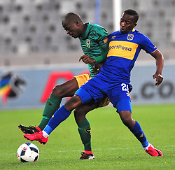 Cape Town--180401  Cape Town City midfielder Thabo Ndada challenged by Velemseni Ndwadwe of Golden Arrows in a PSL game at the Cape Town Stadium. .Photographer;Phando Jikelo/African News Agency/ANA