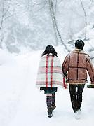 Tourists walking in the snow in Daisetsuzan National Park, Hokkaid?, Japan