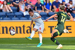 August 2, 2018 - Bridgeview, IL, U.S. - BRIDGEVIEW, IL - AUGUST 02: Japan forward Nahomi Kawasumi (9) shoots against Australia defender Alanna Kennedy (14) during the 2018 Tournament Of Nations between Australia and Japan at Toyota Park on August 2, 2018 in Bridgeview, Illinois (Photo by Quinn Harris/Icon Sportswire) (Credit Image: © Quinn Harris/Icon SMI via ZUMA Press)
