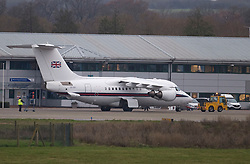 © Licensed to London News Pictures. 09/12/2020. London, UK.  A plane used by British Prime Minister BORIS JOHNSON is seen at Northolt Airport in west London before the British PM heads to Brussels to meet European commission president Ursula von der Leyen in an attempts to come to a last minute agreement on a Brexit deal. Photo credit: Ben Cawthra/LNP