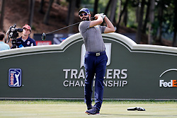 June 22, 2018 - Cromwell, CT, U.S. - CROMWELL, CT - JUNE 22: Adam Hadwin of Canada hits from the 18th tee during the Second Round of the Travelers Championship on June 22, 2018, at TPC River Highlands in Cromwell, Connecticut. (Photo by Fred Kfoury III/Icon Sportswire) (Credit Image: © Fred Kfoury Iii/Icon SMI via ZUMA Press)