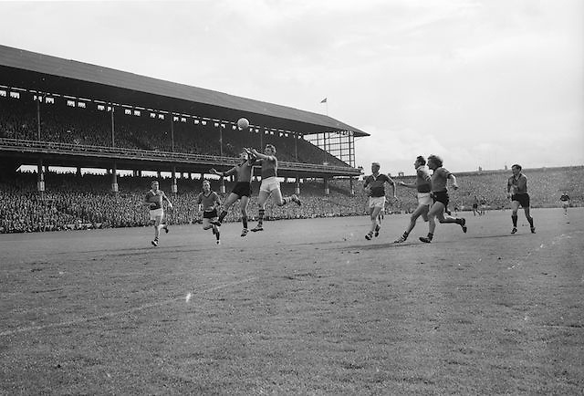 Two of the Down forwards coming in to attack the Kerry defence S. Burrows during the All Ireland Senior Gaelic Football Final Kerry v Down in Croke Park on the 22nd September 1968. Down 2-12 Kerry 1-13.