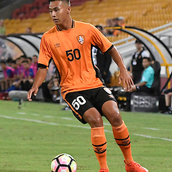 BRISBANE, AUSTRALIA - JANUARY 31: Dane Ingham of the roar controls the ball during the second qualifying round of the Asian Champions League match between the Brisbane Roar and Global FC at Suncorp Stadium on January 31, 2017 in Brisbane, Australia. (Photo by Patrick Kearney/Brisbane Roar)