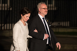 London, UK. 3 December, 2019. Egils Levits, President of Latvia, leaves with his wife Andra Levite following a reception for NATO leaders at 10 Downing Street on the eve of the military alliance's 70th anniversary summit at a luxury hotel near Watford.