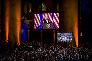 U.S. President Donald Trump adresses the audience at the Armed Services Inaugural Ball in Washington, D.C., on Friday, Jan. 20, 2017. Senate Democrats and Republicans are tussling over how many of Trump's nominees can be confirmed on his first day in office, with Republicans threatening to work through the weekend to break the logjam.