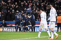 Players of PSG celebrate their first goal during the UEFA Champions League football match round of 16, 1st leg, between Paris Saint Germain and Chelsea on February 16, 2016 at Parc des Princes stadium in Paris, France - Photo Jean Marie Hervio / Regamedia / DPPI