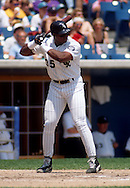 CHICAGO - 1993:  Frank Thomas of the Chicago White Sox bats during an MLB game at Comiskey Park in Chicago, Illinois.  Thomas played for the White Sox from 1990-2005. (Photo by Ron Vesely)