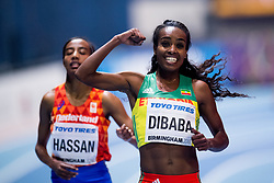 March 1, 2018 - Birmingham, UK - GENZEBE DIBABA of Ethiopia celebrates winning the womenÂ«s 3000 m during day one of the IAAF World Indoor Championships. (Credit Image: © Jon Olav Nesvold/Bildbyran via ZUMA Press)