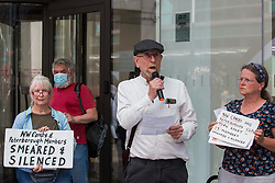 London, UK. 20th July, 2021. Members of North-West Cambridgeshire and Peterborough CLPs address supporters of left-wing Labour Party groups at a protest lobby outside the party's headquarters. The lobby was organised to coincide with a Labour Party National Executive Committee meeting during which it was asked to proscribe four organisations, Resist, Labour Against the Witchhunt, Labour In Exile and Socialist Appeal, members of which could then be automatically expelled from the Labour Party.