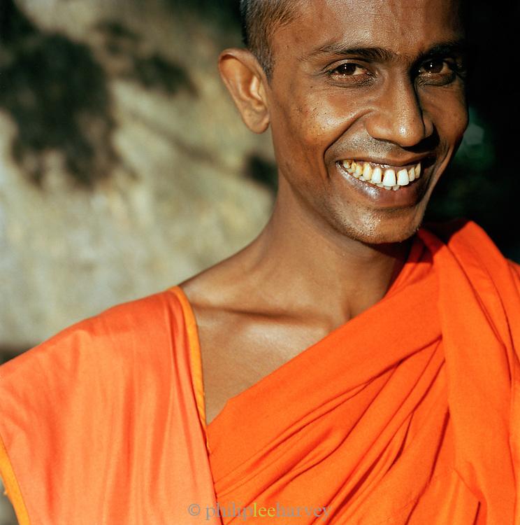 Portrait of monk smiling, Kandy, Sri Lanka