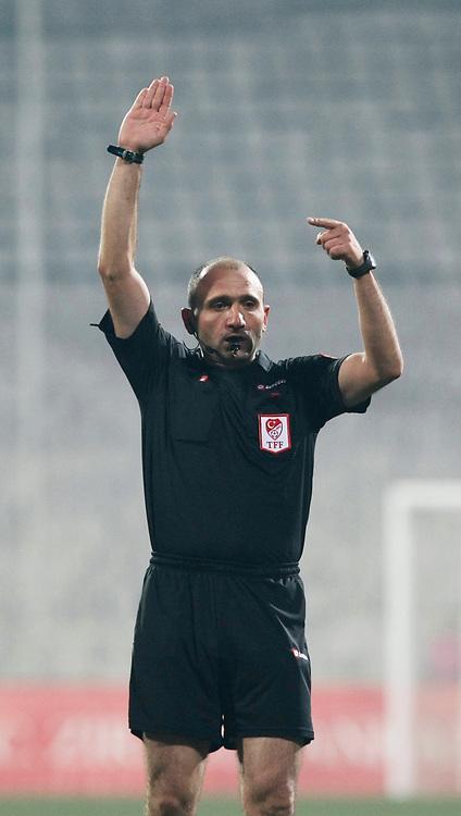 Referee's Deniz COBAN during their Turkey Cup quarter final soccer match Besiktas between Gaziantepspor BSB at the Inonu stadium in Istanbul Turkey on Wednesday 02 February 2011. Photo by TURKPIX