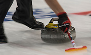 """Glasgow. SCOTLAND.  """"Sweeping"""", """"Round Robin"""" Game. Le Gruyère European Curling Championships. 2016 Venue, Braehead  Scotland<br /> Tuesday  22/11/2016<br /> <br /> [Mandatory Credit; Peter Spurrier/Intersport-images] s]"""