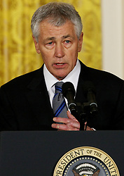 Former U.S. Republican senator Chuck Hagel speaks to the press at the White House in Washington D. C., the United States, Jan. 7, 2013. U.S. President Barack Obama on Monday announced that he will nominate former Republican senator Chuck Hagel as the next defence secretary, and counterterrorism adviser John Brennan to lead the Central Intelligence Agency (CIA), January 7, 2013. Photo by Imago / i-Images...UK ONLY