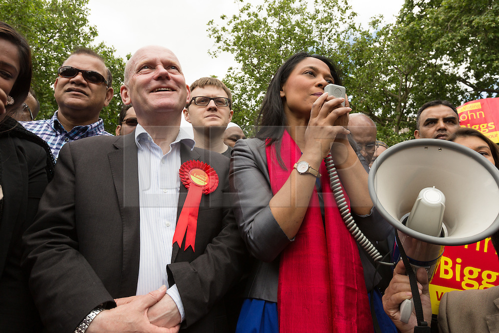 © Licensed to London News Pictures. 06/06/2015. London, UK. John Biggs with  Rushanara Ali at a Labour Party rally for Tower Hamlets Mayoral candidate, John Biggs in Altab Ali Park in Tower Hamlets, east London. The three women Bangladeshi London Labour MPs (Rushanara Ali, Tulip Siddiq and Rupa Huq) attended the rally today with Labour Party supporters. Photo credit : Vickie Flores/LNP