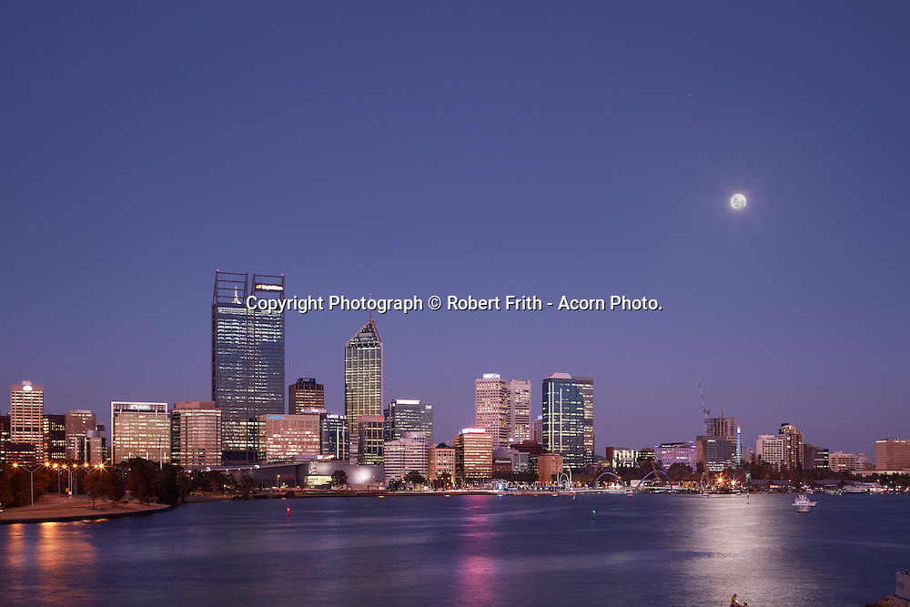 Perth city skyline over the Swan River from South Perth