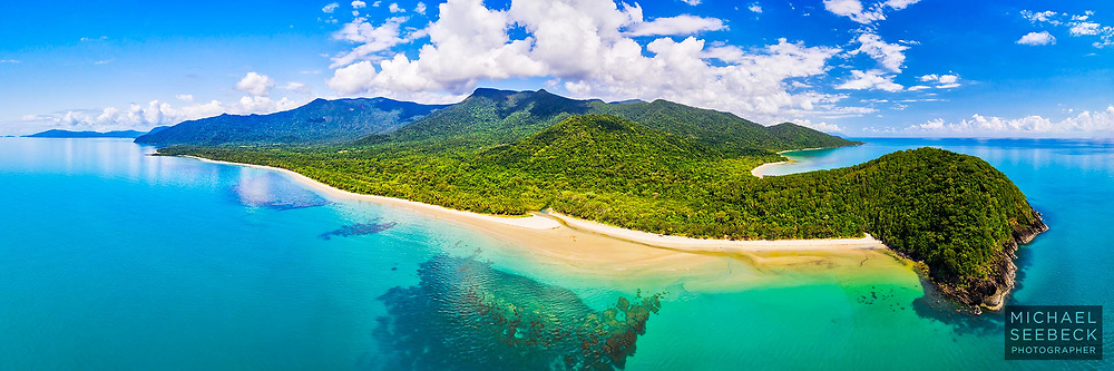 A spectacular aerial panoramic photograph, captured on an idyllic day, of Cape Tribulation and the Daintree coastline, Far North Queensland.<br /> <br /> Code: HAQT0150<br /> <br /> 3:1 Panoramic Photograph; available in 40in (100cm) to 80in (200cm) sizes.<br /> <br /> ('Image Size' below is not indicative of actual size & resolution of print.)<br /> <br /> Add to Cart to view options and pricing.