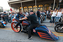 An Astros bagger just days after the team won the pennant on the Strand during the Lone Star Rally. Galveston, TX. USA. Saturday November 4, 2017. Photography ©2017 Michael Lichter.