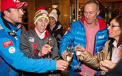 06.01.2014, Berghof, St. Johann Alpendorf, AUT, FIS Ski Sprung Weltcup, 62. Vierschanzentournee, Siegesfeier, im Bild Cheftrainer Alexander Pointner (AUT), Thomas Diethart (AUT), Vater Gernot und Mutter Christa stossen auf den Sieg an // Cheftrainer Alexander Pointner (AUT), Thomas Diethart (AUT), Father Gernot and Mother Christa celebrates after Winning the 62nd Four Hills Tournament of FIS Ski Jumping World Cup at the Hotel Berghof, St. Johann Alpendorf, Austria on 2014/01/06. EXPA Pictures © 2014, PhotoCredit: EXPA/ JFK