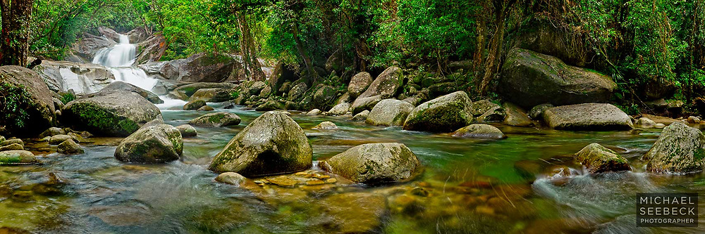 Cool clear water from the slopes of Mt Bartle Frere flows over Jospehine Falls.<br /> <br /> Code: HAQT0025