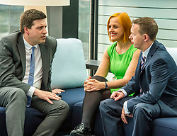 Pictured: Jamie Hepburn, Amanda Jones and Alan Delaeny<br /> <br /> Employment Minister Jamie Hepburn visited Maclay Murray and Spens today as the latest unemployment figures were released. Mr Hepburn met employees who have benefited from family-friendly working policies. He was welcomed to Quatermile One by Amanda Jones, Partner and Head of Dispute, Claire Maclean (Senior Solicitor) and her three year old son Jack, and Alan Delaeny, Director<br /> of Employment, Pensions and Immigration.<br /> Ger Harley | EEm 14 June  2017