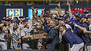 The Columbus Clippers celebrate with the trophy after winning the MiLB International Championship baseball game against the Durham Bulls, Thursday, September 12, 2019, in Durham, N.C. The Clippers beat the Bulls 6-2 to complete a three-game sweep of the two-time defending champion. (Brian Villanueva/Image of Sport)