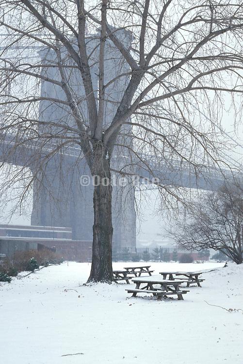 winter scene with Brooklyn Bridge in the background