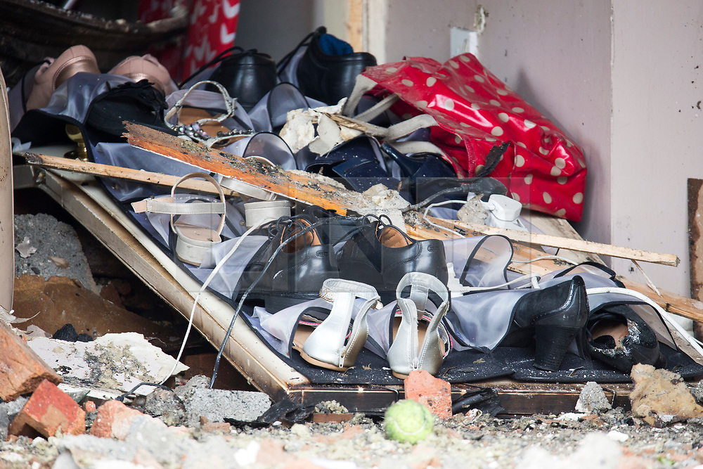 © Licensed to London News Pictures. 05/09/2017. York UK. Picture shows the inside of the house in York where a car crashed through the wall on Sunday. The car that crashed into a house in York on Sunday has been removed this morning revealing the damage caused to the inside of the property. The car crashed through the wall into the living room then caught fire & caused a blaze in the the house, the crash injured four people including a man who was sat in the front room of the property at the time of the incident. Photo credit: Andrew McCaren/LNP