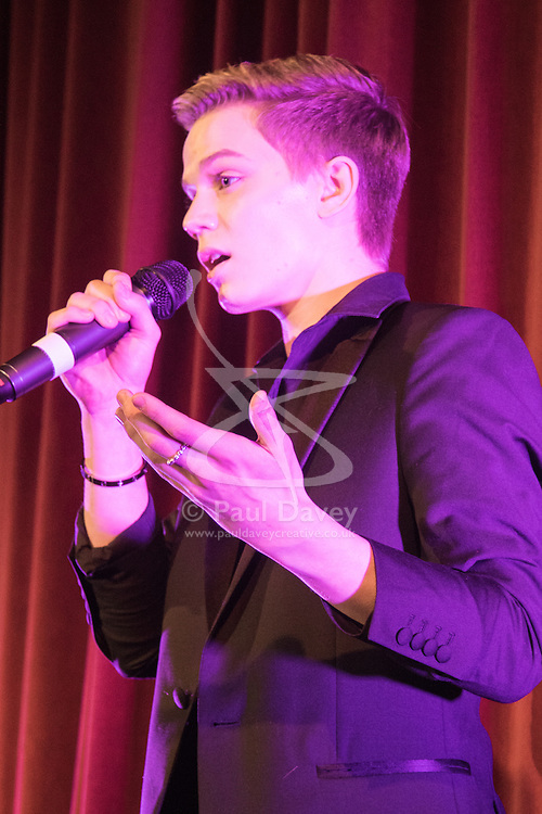 Old Town Hall, Stratford, London - 28 November 2015. Singers Marc Almond, Ronan Parke, Heather Peace and Asifa Lahore headline the Peter Tatchell Foundation's inaugural Equality Ball, a fundraiser for the foundation's LGBTI and human rights work, with guest of honour Sir Ian McKellen  joined by Michael Cashman. PICTURED: Ronan Parke.  //// FOR LICENCING CONTACT: paul@pauldaveycreative.co.uk TEL:+44 (0) 7966 016 296 or +44 (0) 20 8969 6875. ©2015 Paul R Davey. All rights reserved.