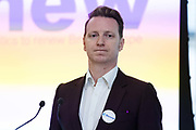 James Clarke, Head of Outreach at the launch of of Renew, the new pro-remain political party at the Queen Elizabeth II conference centre in London, England on February 19th, 2018. The Renew Party plans to fight elections from a platform of remaining in the European Union EU.