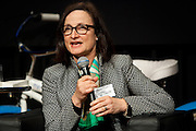 """Regina Meyer, President, Brooklyn Bridge Park, shares her thoughts during the """"Nanjing to Nairobi to New York, the State of the City"""" during the Manhattan Chamber of Commerce's Transportation Transformation Global Summit at NYIT in New York on April 26, 2012."""