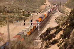 BNSF Railroad movement through Cajon Pass in San Bernardino County, California, USA
