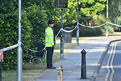 © Licensed to London News Pictures. 05/07/2018. Salisbury, UK. A Police cordon around Queen Elizabeth Gardens in Salisbury, Wiltshire an area visited by two people who are in critical condition after being exposed to the Novichok nerve agent. Dawn Sturgess, 44, and Charlie Rowley, 45 hav been confirmed as having come in to contact with the deadly agent after samples were sent to the MoD's Porton Down laboratory. Former Russian spy Sergei Skripal and his daughter Yulia were poisoned with Novichok nerve agent in nearby Salisbury in March 2018 causing diplomatic tentions between Russia and the UK. Photo credit: Ben Cawthra/LNP
