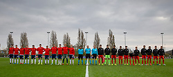 CARDIFF, WALES - Saturday, November 16, 2019: Russia and Wales players line-up before the UEFA Under-19 Championship Qualifying Group 5 match between Russia and Wales at the Cardiff International Sports Stadium. (Pic by Mark Hawkins/Propaganda)