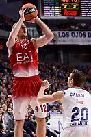 Real Madrid's Jaycee Carroll and EA7 Emporio Armani Milan's Zoran Dragic during Turkish Airlines Euroleage match between Real Madrid and EA7 Emporio Armani Milan at Wizink Center in Madrid, Spain. January 27, 2017. (ALTERPHOTOS/BorjaB.Hojas)