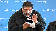 Photography ©Mara Lavitt<br /> March 27, 2018<br /> The Old Refectory at the Yale Divinity School, New Haven.<br /> <br /> The Reverend William J. Barber II during a Repairers of the Breach visit to the Yale Divinity School. Joining Rev. Barber were Shyrl Hinnant-Uzzell from Goldsboro, NC, and Jonathan Wilson-Hartgrove of Durham, NC.