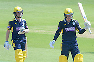 Hampshire batsman Tom Alsop reaches his half century during the Royal London One Day Cup match between Hampshire County Cricket Club and Essex County Cricket Club at the Ageas Bowl, Southampton, United Kingdom on 5 June 2016. Photo by David Vokes.