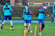 Andy Halliday (#16) of Heart of Midlothian FC (centre) during the Heart of Midlothian press conference, media and training session, ahead of the William Hill Scottish Cup Final, at the Oriam Sports Performance Centre, Edinburgh, Scotland on 15 December 2020.