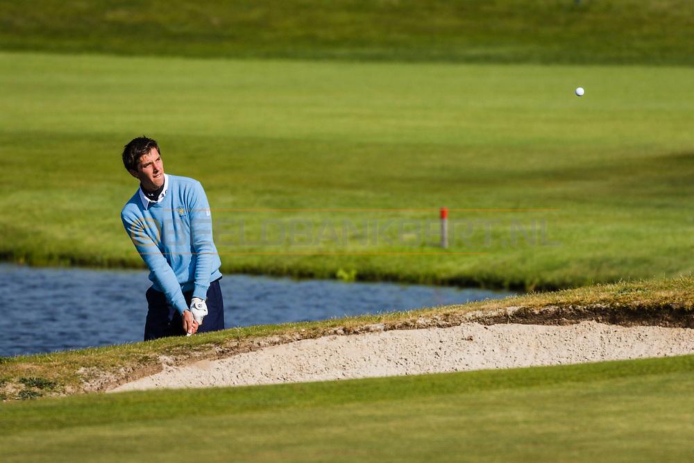 17-05-2015 NGF Competitie 2015, Hoofdklasse Heren - Dames Standaard - Finale, Golfsocieteit De Lage Vuursche, Den Dolder, Nederland. 17 mei. Heren Houtrak: Igor Mandjes tijdens de foursomes.