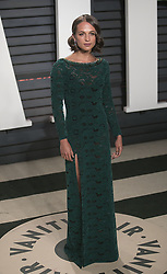 February 27, 2017 - Beverly Hills, California, U.S - Alicia Vikander on the red carpet at the 2017 Vanity Fair Oscar Party held at the Wallis Annenberg Center in Beverly Hills, California, Sunday February 26, 2017. (Credit Image: © Prensa Internacional via ZUMA Wire)