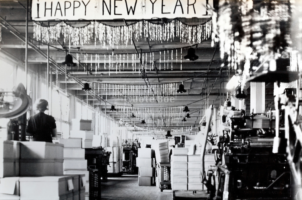 factory printing department floor with New Years decoration USA 1940s