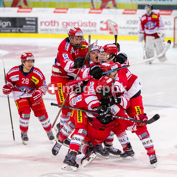 Rapperswil-Jona Lakers forward Nico Alena (#23) celebrates with his teammates Kilian Liechti (#10), Kim Lang (#22), Janis Egger (#26), Jonas Graetzer (#13) and Siro Rutzer (#28n) after scoring the winning goal in the penalty shootout during ice hockey game 3 of the Elite B Playoff Final between Rapperswil-Jona Lakers and EHC Chur Capricorns in Rapperswil, Switzerland, Tuesday, March 13, 2018. (Photo by Patrick B. Kraemer / MAGICPBK)