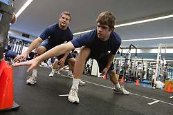 27 November 2007: North Carolina Tar Heels men's lacrosse defenseman Ryan Flanagan (35) during a weight lifting session in Chapel Hill, NC.