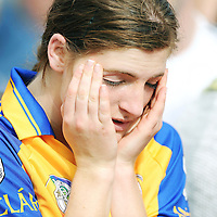 31 August 2008; A dejected Shonagh Enright, Clare, at the end of the game. All-Ireland Minor A Championship Final, Clare v Kilkenny, Geraldine Park, Athy, Co. Kildare. Picture credit: Paul Mohan / SPORTSFILE *** NO REPRODUCTION FEE ***