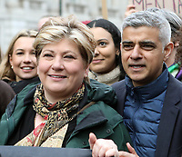 Emily Thornberry and Sadiq Khan at March4Women 2020 rally at Southbank Centre on March 08, 2020 in London, England. The event is to mark International Women's Day photo by Roger Alarcon